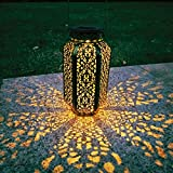 Outdoor Solar Hanging Lantern Garden Decor Lights with Handle, Waterproof Metal Solar-Powered Led Lighting for Pool Party Fence Porch Yard Pathway Patio Deck Wedding Decorative(Black)
