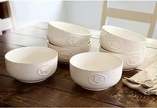 Stoneware bowls with antique finish set of 6 (white)