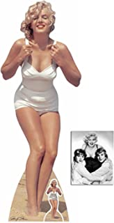 Fan Pack - Marilyn Monroe White Swimsuit Lifesize and Mini Cardboard Cutout / Standup / Standee - Includes 8x10 Star Photo