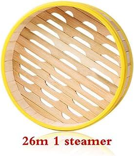 XTR Vaporizador Utensilios de Cocina Bambú Madera Pescado Arroz Canasta Dim Sum Arroz Olla para Pasta con Tapa Comida Vapor rellena al Vapor, 26m 1 Vaporizador