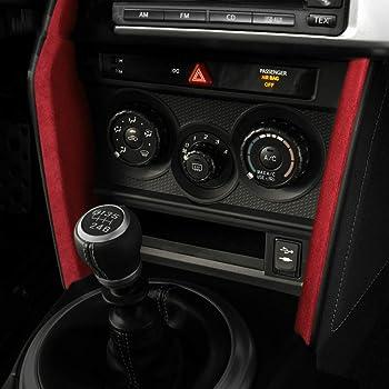 アルカンタラレザー素材車中央制御装飾ストリップステッカーABSトリムカバースバルBRZトヨタ86 2013-2020アクセサリー (Red)