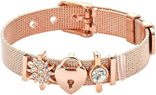 Luccaful Rose Gold Stainless Steel Mesh Bracelet Set Gold Heart Lock Charm Bracelet Bangle for Woman Jewelry Gifts