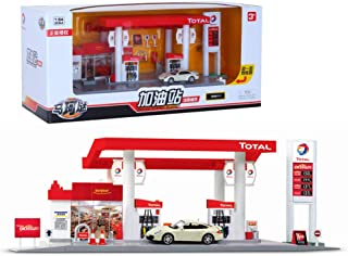 FairOnly Scale Sound +Light Service Gas Station Store Road Car Playing House Toy Set French Total Gas Station Combination - Car Random 1 - for Child Gift