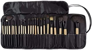 Family Needs Nylon Hair With Wooden Handle, PU Leather Black Makeup Brush Set Pouch 24Pcs Professional Makeup Brush Fix (C...