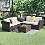 Wisteria Lane Outdoor Patio Furniture Set, 4 Piece Sectional Sofa Couch Conversation Set Loveseat with Storage Table All-Weather
