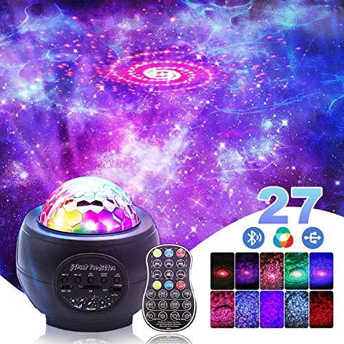 Jagdag LED Sternenhimmel Projektor, Galaxienprojektorlicht Galaxie Nachtlichtprojektor Ozeanwellen Projektor mit Fernbedienung/Bluetooth Musiklautsprecher 3 Helligkeitsstufen für Kinder Party