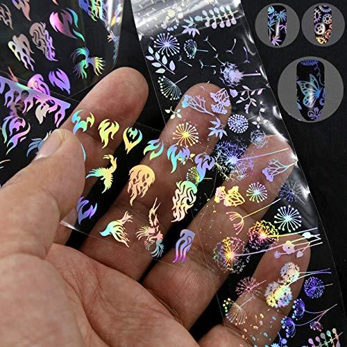 PMSMT Nail Art holográfico Rollo Nail Papel de Aluminio Llama Diente de león Panda bambú Mariposa uñas Transferencia de Agua Pegatina Apliques de uñas