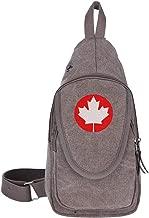 Canada Maple Leaf Canadian Flag Canvas Chest Shoulder Backpack For Walking Travelling Casual Bag For Boys Girls Black