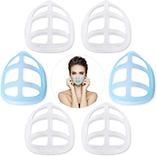3D mask bracket Nose pads Face Mask Inner Support Frame Homemade Cloth Mask Lipstick Protector Protection for- Cool Silicone Bracket- More Space for Comfortable Breathing - Washable Reusable- (6 PCS, white plus blue)