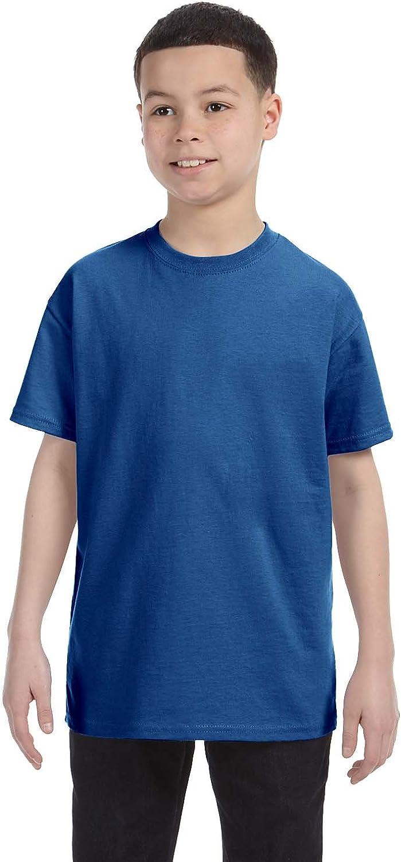 Hanes Big Boy's Lay Flat Collar Tagless T-Shirt, Deep Royal, X-Small