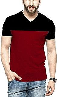 Stardom Men's Half Sleeve V Neck Solid Cotton Tshirt (Large, Maroon and Black)