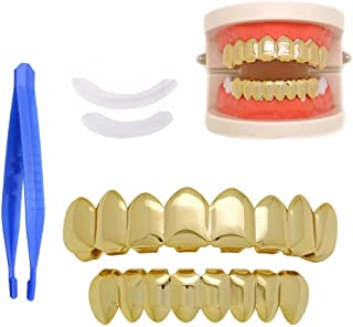 Paddsun 14K Gold Plated Grillz for Mouth Top Bottom Hip Hop 8 Teeth