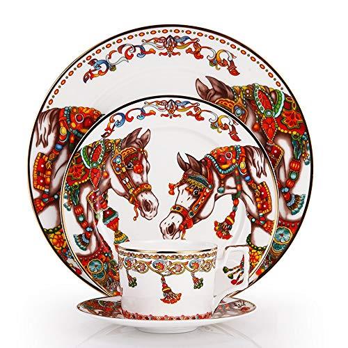 Copa del caballo del patrón Bone China Plato SET y café kit del borde del oro de vajilla platos de solomillo bandeja plana Copa platillo