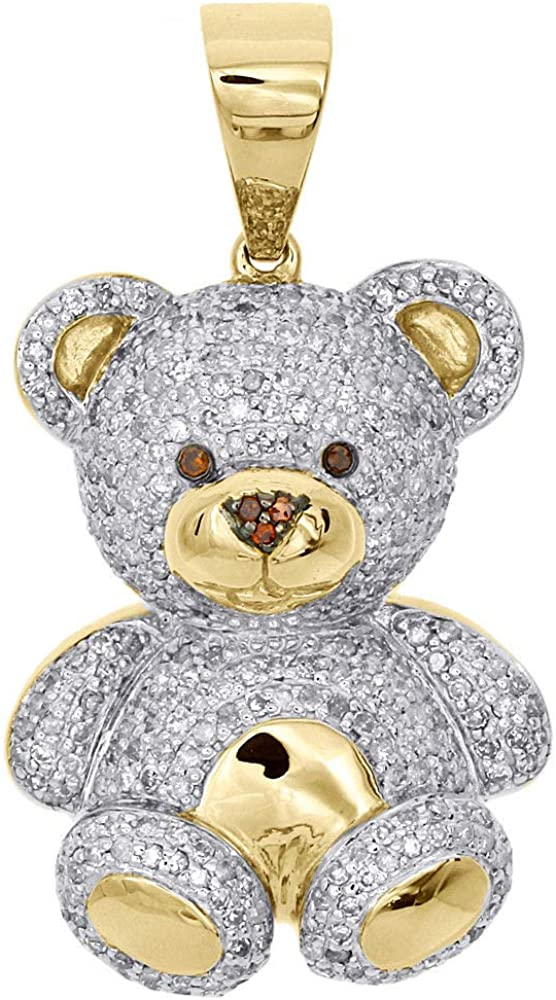 10K Yellow Gold Genuine Diamond Teddy Bear Pendant Fees free!! 3D 1.40
