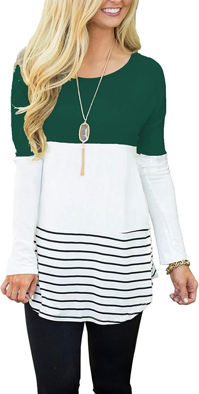 Hount Womens Spring new work one after another Back Lace Color Block Tops Ranking TOP6 Sleeve Long Tunic T-Shir