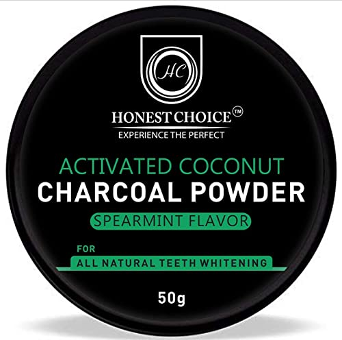 HONEST CHOICE charcoal powder I teeth whitening product I Organic activated coconut teeth whitener I proven to remove surface stain effectively on enamel freshness breath 50 gm