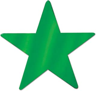 Beistle 57027-G Green Metallic Star Cutouts, 3-1/2 Inch, 12 Pieces Per Package