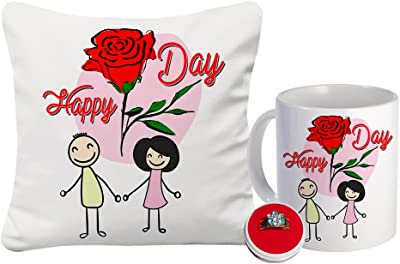 Sky Trends Cushion Cover Without Filler, Artificial Flower Bunch & Finger Ring for Valentine Gift - Combo of 3, Multicolor, St-vlndycushionringflwr067