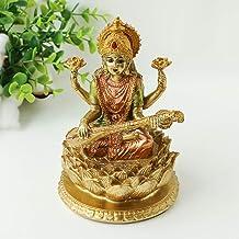 "Bangbangda Polyresin Saraswati On Lotus - 6.3"" Height Hotel Furnishing Statues Wedding Crafts Diwali Gifts Home Decoration"