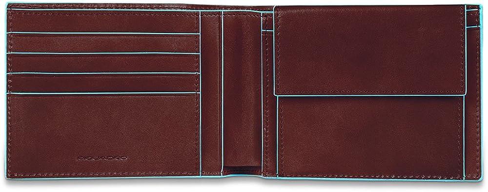 Piquadro blue square, portamonete, portafoglio per uomo, in pelle , mogano PU257B2R/MO
