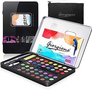 AGPTEK akvarellfärger set 48 vattenfärger, 1 pensel, 2 vattentankpensel, 8 akvarellpapper 1 penna, vattenabsorberande svam...