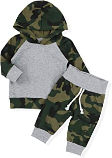 Toddler Infant Baby Boy Clothes Breathable Hoodie Sweatshirt Top + Camouflage Pants Outfit Sets