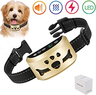 lushujun Stop Barking Collar for Small Medium Large Dogs, No Bark Collar with 7 Adjustable Intensity Levels, Rechargeable and Rainproof Anti Bark Collar (Neck Size:6.5-24'')