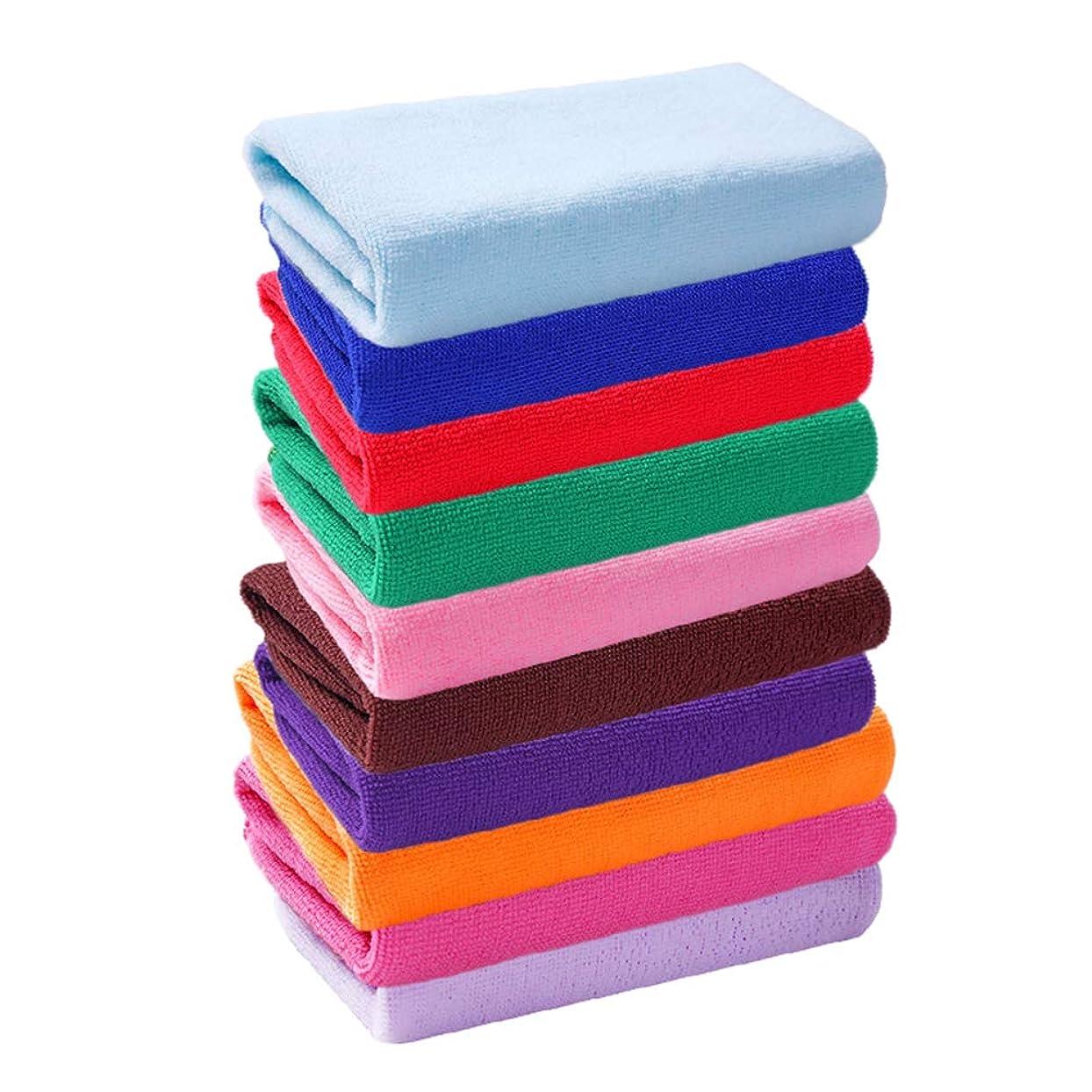 話をするひもおとなしいOUNONA 10個/パックマイクロファイバーハンドタオル手ぬぐい各種カラー高速ドライクリーニング布20×20cm