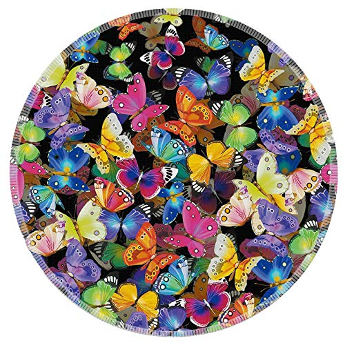 Mouse Pad Galdas Mousepad Round Gaming Mouse Pad Rubber Base Cloth Mouse Pads for Computers Laptop (Updated Version) … … (Colorful Butterflies)