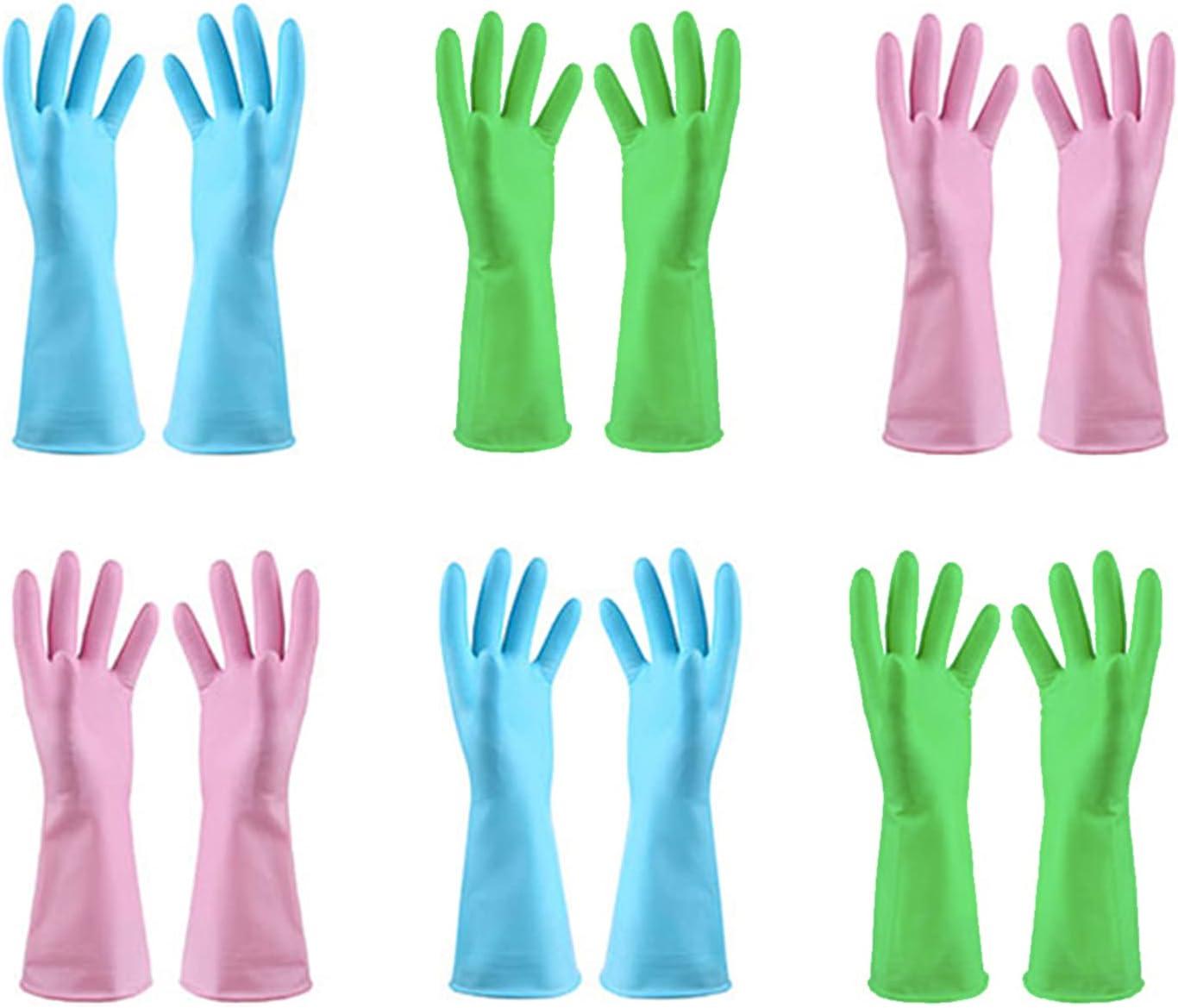 Albuquerque Mall 1 year warranty URSMART Dishwashing Household Gloves -6 Rubber Pairs Kitchen Glo