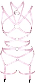 PETMHS Women's Punk Cut Out Harness Body Full Strappy Lingerie Garter Belts Set Elasticity Goth Club Rave Wear