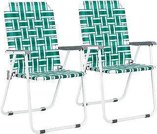 VINGLI Patio Folding Web Lawn Chair Set, 2 Pack Outdoor Beach Chair Portable Camping Chair, Webbed Folding Chair for Yard,...