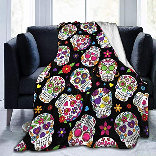 Mexican Sugar Skulls Flannel Fleece Throw Blanket 50x60 inch Living Room/Bedroom/Sofa Couch Warm Soft Bed Blanket for Kids Adults