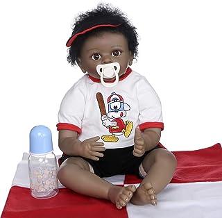 Zero Pam 55cm Reborn Baby Doll Dark Tan Skin African American Realistic Newborn Soft Body Baby Dolls (Baby Boy with Baseba...