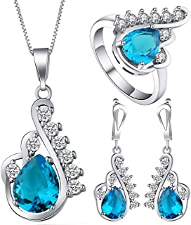 VPbao Crystal Pendant Silver Plated CZ Necklace Earrings Ring Jewellery Set Blue