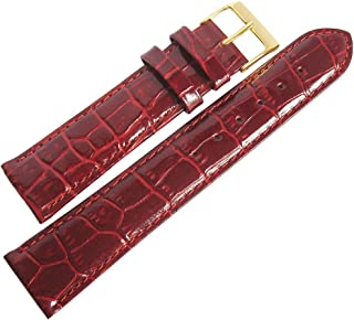 Fluco Crocodile-Grain 20mm Burgundy Leather Gold Buckle Watch Strap