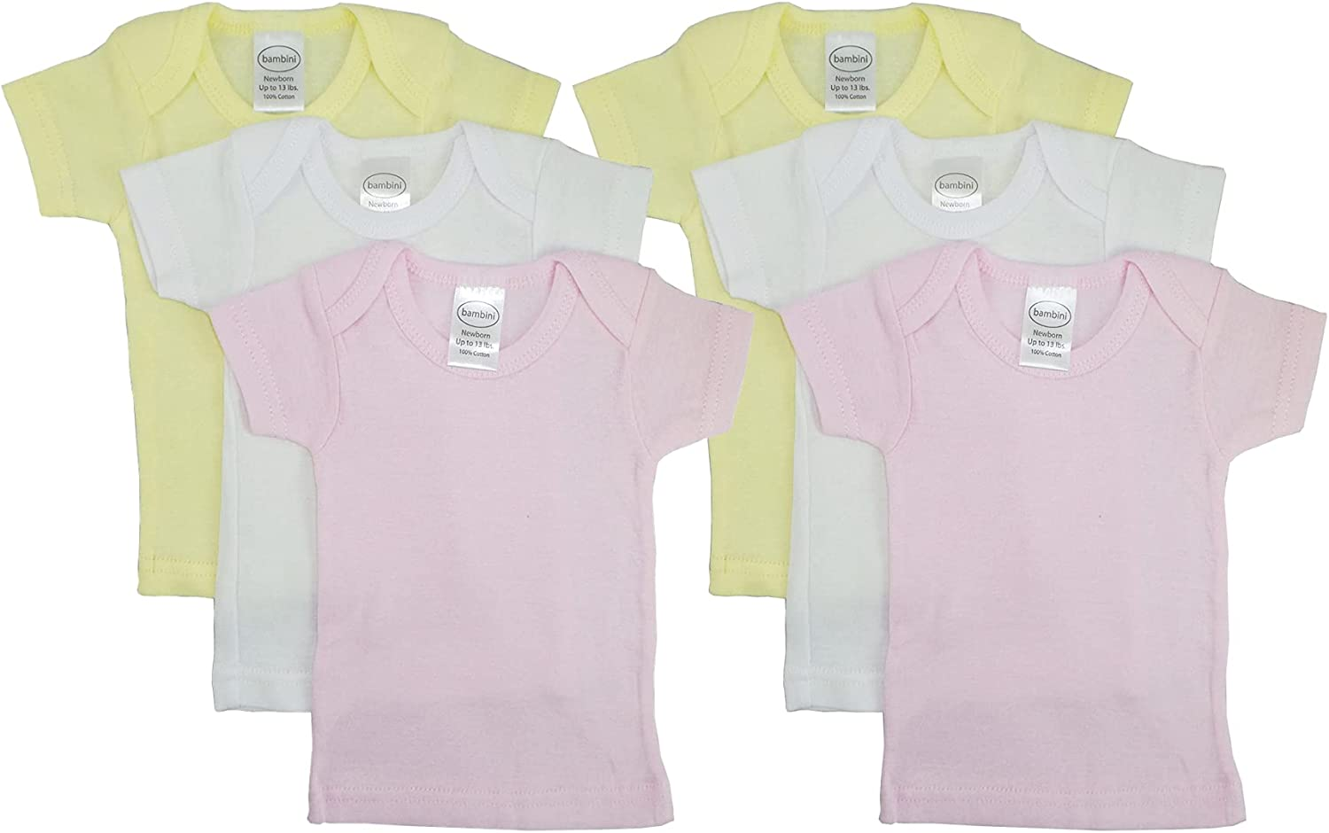 Unisex Baby Short & Long Sleeve Tee Shirts, 100% Cotton for Variety Packs of 3-Pack/ 6-Pack (Newborn (0-6 Months/up to 13 lbs.), Short-Sleeve_6-Pack_Pastel_for Girl)