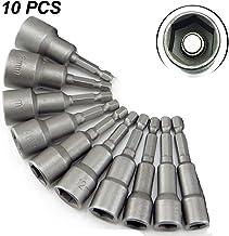 Juego de llaves de vaso hexagonales magnéticas de 1/4 pulgadas, 10 piezas de 6 mm a 19 mm, adaptador de broca de taladro eléctrico, brocas métricas de impacto, plateado