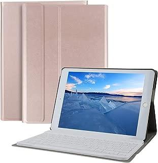 SUKEBON iPad 10.2 インチ キーボード ケース 第七世代 2019 最新版対応 分離式 キーボード付き カバー スリム 軽量 スマート カバー 磁気 無線 キーボード 取り外し可 (ローズゴールド)