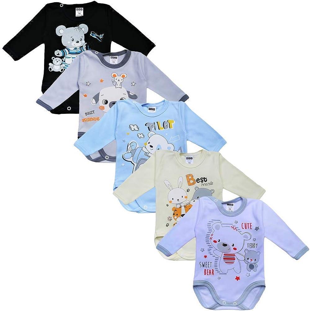 Baby Langarm Body f/ür Jungen MEA BABY Unisex Baby Langarm Body aus 100/% Baumwolle im 5er Pack Baby Langarm Body mit Aufdruck Baby Langarm Body f/ür M/ädchen