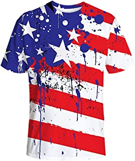 Men's New Big & Tall Independence Day-American Fag Crew Neck T-Shirt Tops
