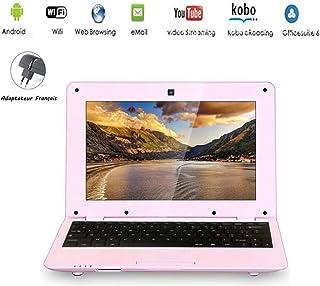 G Anica® Netbook mit Android4.4.2, HDMI, 10,1 Zoll Display (25,6cm), WLAN, SD, MMC, Webcam, unterstützt Textverarbeitung, PDF usw., Achtung: französische Tastatur (AZERTY) rosa Rose
