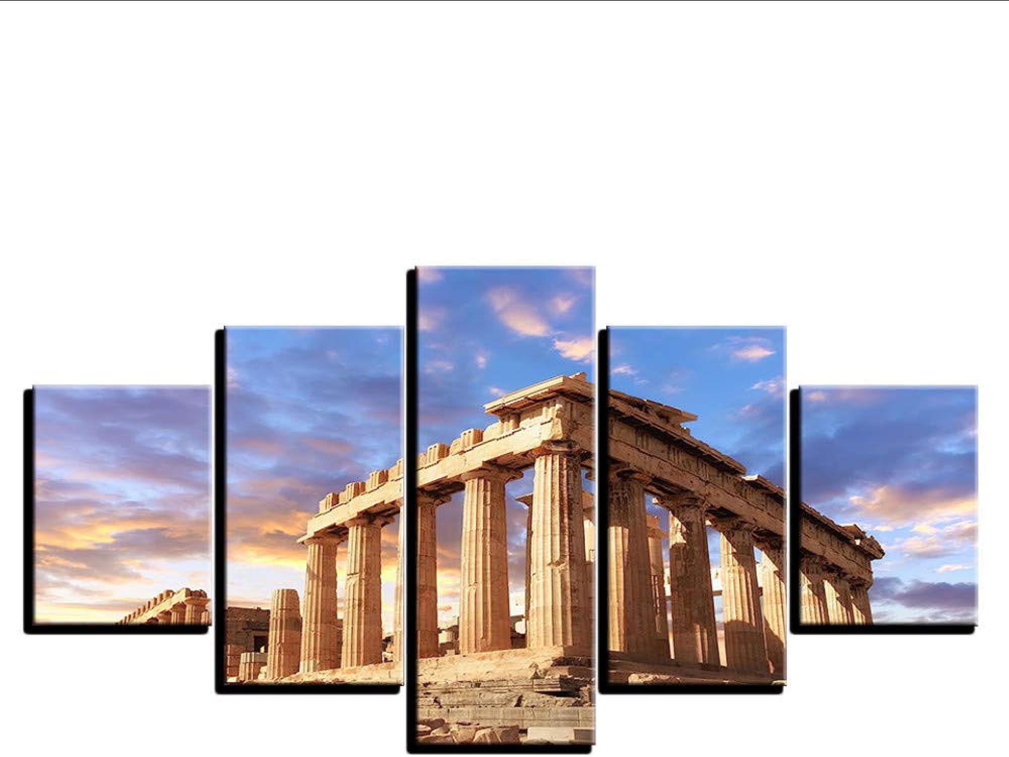las mejores marcas venden barato Guyuell HD Wall Posters Home Decoration Art Pictures Moderno Moderno Moderno 5 Panel Acrópolis Edificio Paisaje para La Sala De Estar Pintura Impresa-20Cmx35 45 55Cm,with Frame  compra en línea hoy