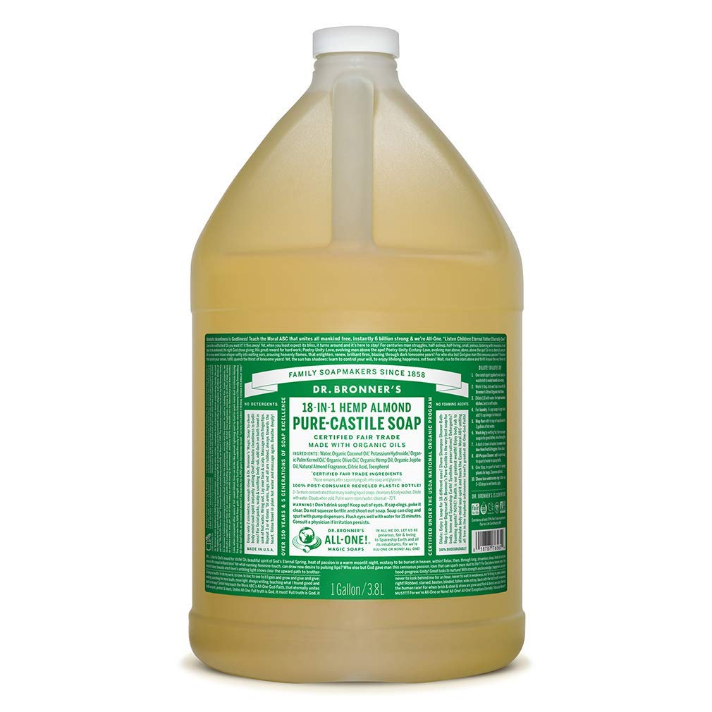Pure-Castile shipfree Liquid Online limited product Soap Almond 1 - Gallon with Made Organic