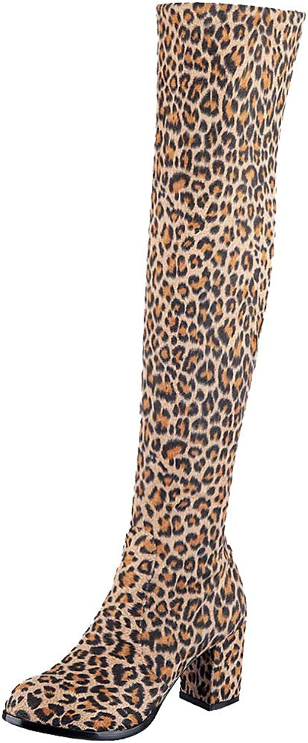 Luis Vuis Sexy Leopard Boots Women Block High Heels Stretch Boots Warm Lining Over Knee Boots