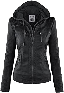 DOKER Women's Fashion Hooded Fake Two Piece Faux Leather Jacket