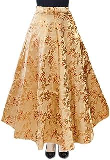 DB ENBLOC Women's Now Umbrella Cut Skirt for Party/Festival Function Gold