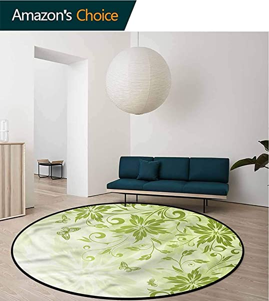 RUGSMAT Green Super Soft Circle Rugs For Girls Butterflies Foliage Framework Home Decor Foor Carpet Diameter 24