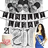 Finally Legal 21st Birthday Decorations |21 Birthday Party Supplies| 21 Cake Topper Black Glitter| Banner| Black Balloons| Silver Finally 21 printed Latex balloons| Finally Legal 21| Finally 21 Sash Wh