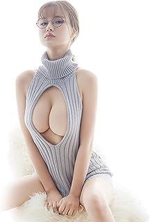童貞を殺すセーター セクシーセーター バックレス ニット バックリボン タートルネック 胸空き 大胆過激 悪魔 ニットワンピース レディース かわいい コスチューム